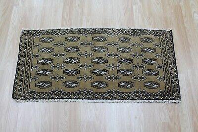 Old Hand Made Persian Turkmen tribal wool rug, very hard wearing 60 x 40 cm