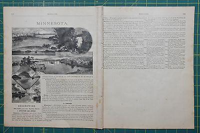 Minnesota Vintage Original Antique 1884 Ivison Blakeman Taylor Folio Atlas Map