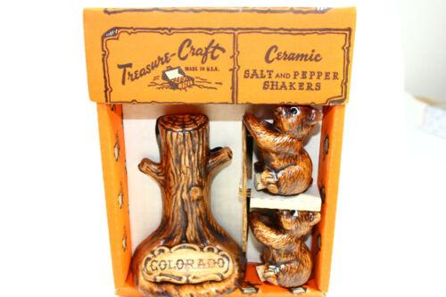Colorado S&P Bears In Tree Salt Pepper Set Treasure Craft Souvenir Orig Box MINT