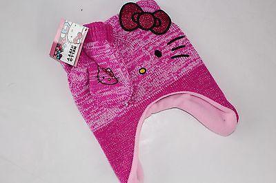 Hello Kitty Mittens Hat Girls NWT New Pink Cat