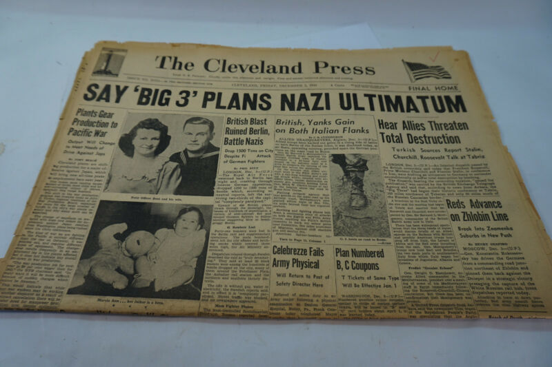 VINTAGE NEWSPAPER WW2 WWII PLAN NAZI ULTIMATUM DEC 3 1943 CLEVELAND ORIGINAL