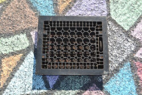 Antique Cast Iron Wall, Floor Grate Vent with Louvers 10x12