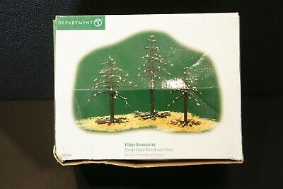 Department 56 Halloween Village Accessories Spooky Black Bare Branch Trees