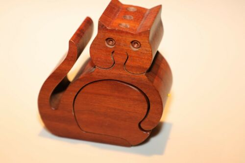 Vintage Richard Rothbard Wood Wooden Cat Kitty Stash Box Pencil Holder VGUC