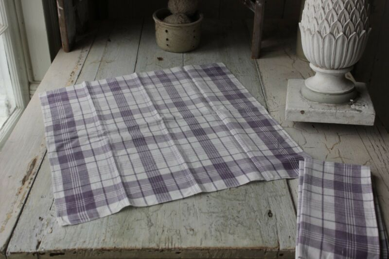 Antique French plaid check napkin bandana neckerchief towel textile  PURPLE ONE