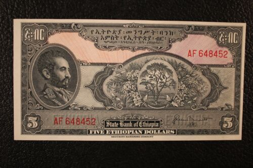 "1945 $5 ""FIVE ETHIOPIAN DOLLARS"" STATE BANK OF ETHIOPIA UNCIRCULATED 6/15"