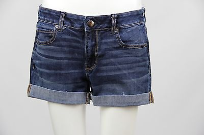 American Eagle Womens Dark Wash Denim Cuffed Stretch Midi Shorts Size 12