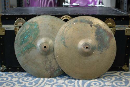 "1940s Zildjian 14"" Trans Stamp Hi Hat Cymbals 569g 588g"