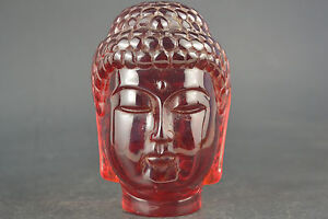 China Collectible Decor Exquisite Old Amber Resin Buddha Head Devout Statue