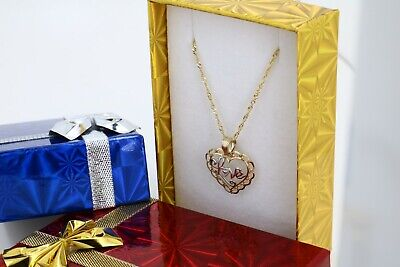 Real 10k Yellow Gold Singapore Chain Necklace Two Tone Gold Love Heart Charm Gold Heart Charm Necklace