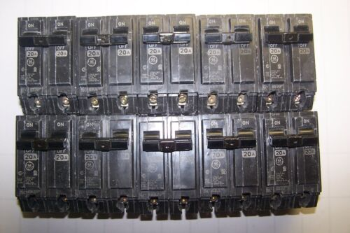 10) GE GENERAL ELECTRIC 20A 2P 120/240V CIRCUIT BREAKERS THQL220 LOT OF 10