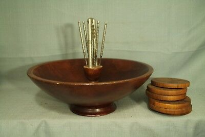 vintage large solid wood pedestal carved nut bowl with nutcracker picks coasters