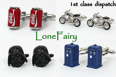 Mens Quality Novelty Cufflinks *13 varieties* Star Wars VW Tardis Coke Bike
