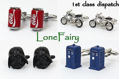 Mens Quality Novelty Cufflinks *13 varieties* Star Wars VW Tardis Coke Bike