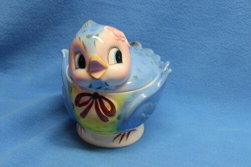 Vintage LEFTON Whimsical BLUE Bird COOKIE Jar with LABEL #289