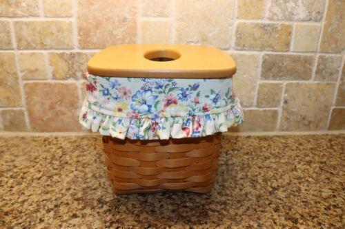 Longaberger Tall Tissue Kleenex Basket with Spring Floral liner & Woodcrafts Lid