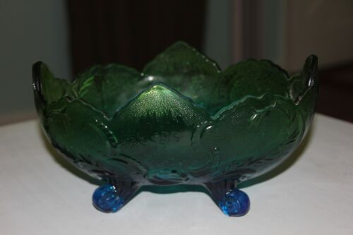 Jeannette Glass Lombardi Blue Green Footed Fruit Bowl