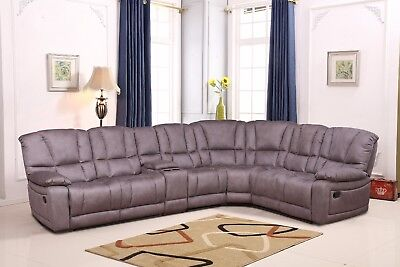 Betsy Furniture Beamy Microfiber Reclining Sectional Living Room Sofa Grey 8019