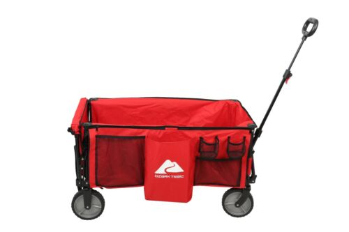 Ozark Trail Camping Utility Wagon with Tailgate & Extension Handle, Red