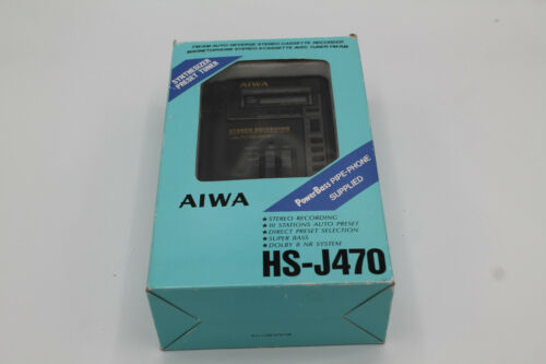 Aiwa HS-J470 Walkman Cassette Tape Player Recorder in ORIGINAL BOX Headphones ++