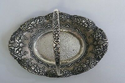 Antique German 800 Fine Silver Hand Hammered & Repousse Handled Basket