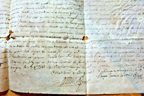 1786 PARCHMENT manuscript sale contract with freemason signature damaged RARE