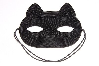 Black Sequin Cat Design Decorative Fancy Dress Halloween Face Mask (s136)