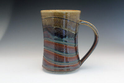 Pottery Hand Made Wheel Thrown. Coffee Mug Amber & White Glaze - Rollins