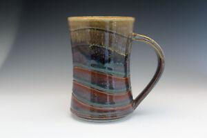 Pottery Hand Made Wheel Thrown. Coffee Mug Amber & White Glaze - Rollins