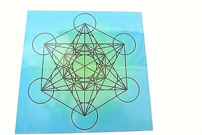 Metatrons Cube Laminated Grid 8x8inch Akashic Records Spirit Board Sacred Stones