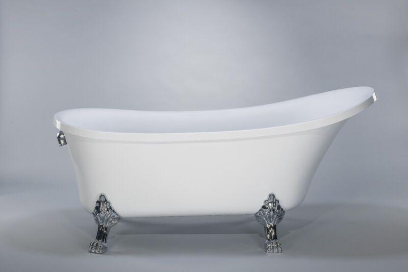 """1001NOW Cesano Freestanding Seamless Acrylic White Luxurious 63"""" Tub"""