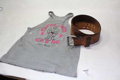 Lee Haney signed weight belt Lake Mary Florida Gold's Gym tank top shirt EP22083