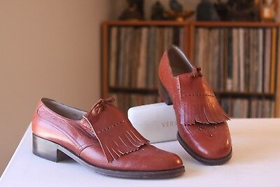 Belgian Shoes By Debusschere Brown Leather Lace Up Kiltie Oxfords Size 7 AAAA