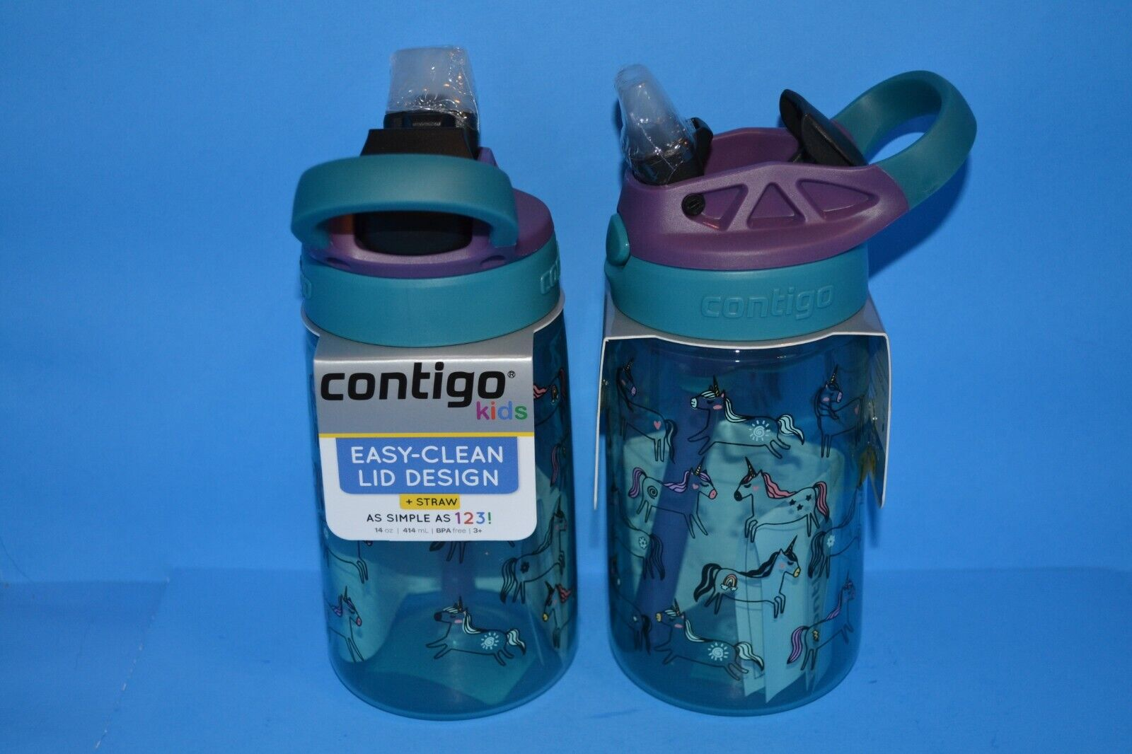 Contigo Kids Flip Water Bottle + Straw 14oz Teal & Purple Wi