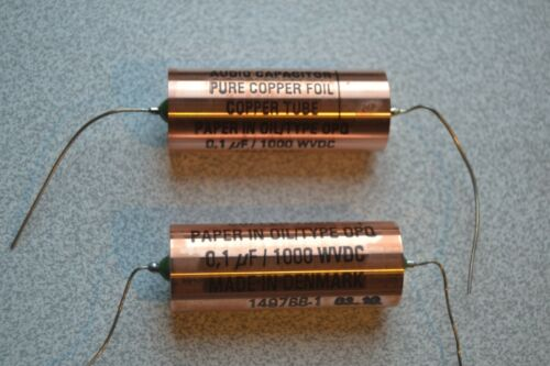 Jensen capacitors 2 x 0,1 uF 1000 VDC, PIO, copper foil silver lead out