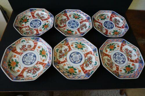 Set of 6 Octagonal Antique Imari Plates