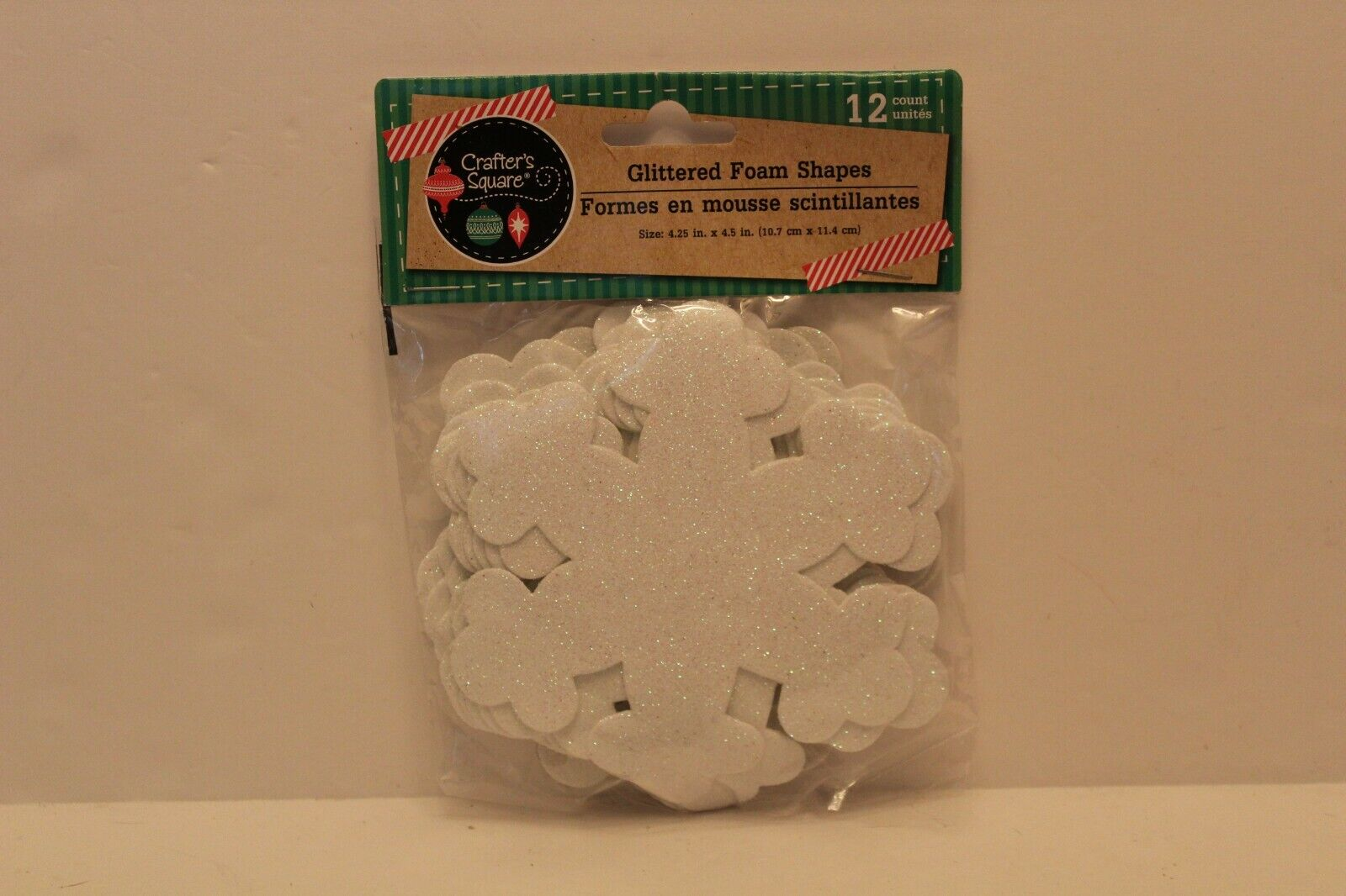 Crafter's Square Glittery Foam Snowflakes 12 count