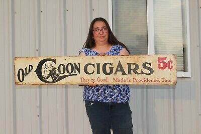 """Large Vintage Old Coon 5c Cigars Tobacco Store Gas Oil 48"""" Metal Sign"""