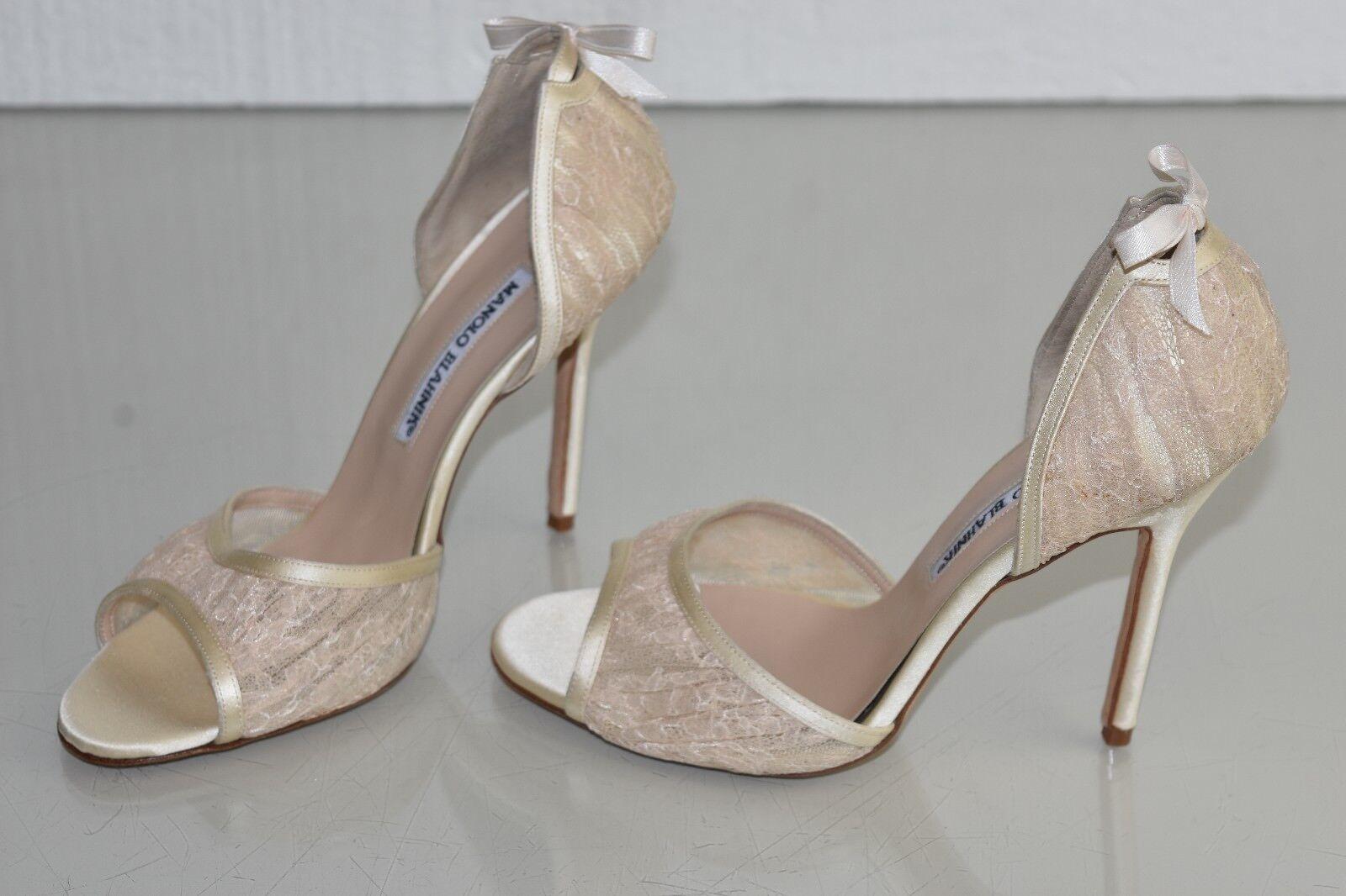 NEW Manolo Blahnik Lace Astutado Cream Ivory Lace Peep Toe Bow Wedding Shoes 37