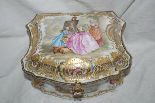 Antique KPM Porcelain Jewelry Casket Box Enamel Gild Bronze France Courting