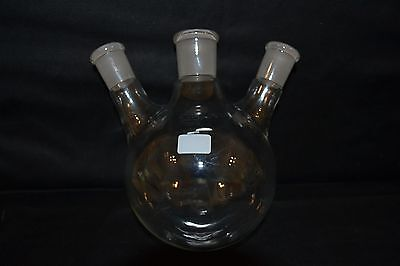 Quickfit 500ml capacity round bottom glass flask with 3 necks