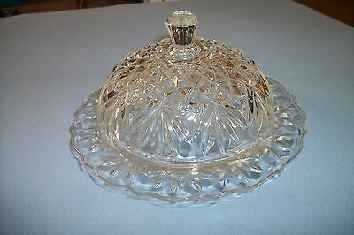 Butter Dish / Candy / Snack Dish Clear Glass w/Lid - Vintage