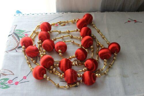 Vintage CHRISTMAS GARLAND Mercury Glass Beads Satin Balls Red Gold 7 Ft Japan