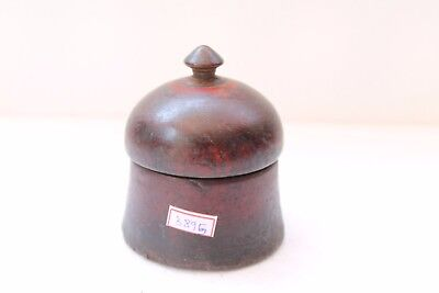 Vintage Hand Carved Lacquer Painted Wooden Kum Kum Powder Tikka Box NH3895