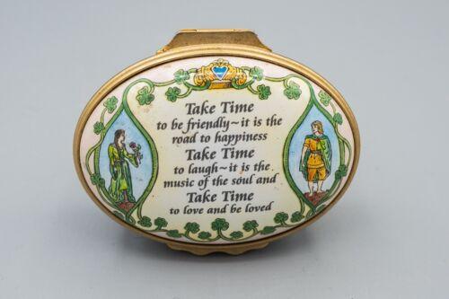 Halcyon Days Enamel Trinket Box Inspiration Life Lines Irish Prayer Take Time