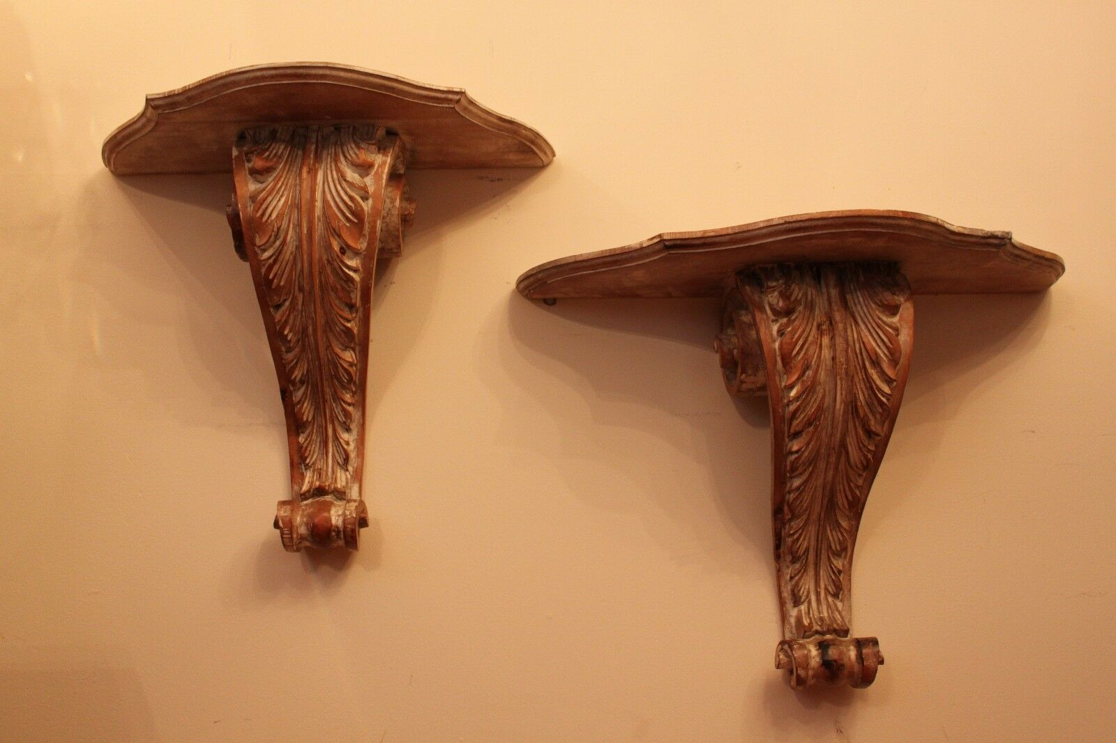 Antique LARGE Pair Of Vintage Italian style Hand Carved Wood Wall Shelf Corbel