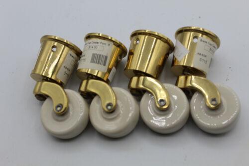 "(4) VTG Brass Cup Casters Porcelain Wheels Swivel Table Furniture 1 1/4"""