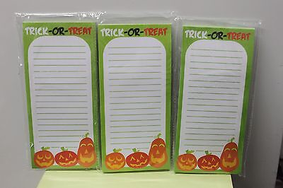 3-SET HALLOWEEN PUMPKIN MAGNETIC NOTEPADS List Pad Memo Stationery Paper NEW