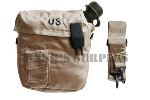 US Military Army Collapsible Camping 2 QT Canteen & Cover Pouch Sling Tan