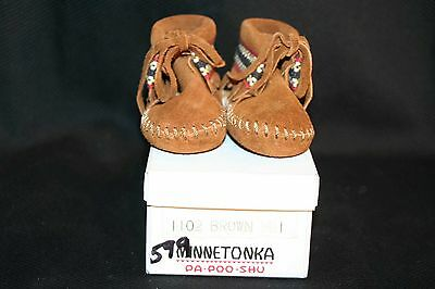 INFANT BABY Sz 1 NOS Vtg 60s 70s SUEDE MINNETONKA PA POO SHU MOCCASIN Shoes